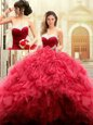 Admirable Red Tulle Lace Up Ball Gown Prom Dress Sleeveless Floor Length Beading and Ruffles