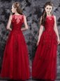 Enchanting Wine Red Empire Scoop Sleeveless Tulle Floor Length Side Zipper Appliques Prom Dress