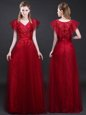 Short Sleeves Tulle and Lace Floor Length Zipper Prom Dresses in Wine Red for with Appliques and Belt