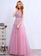 Fantastic Pink Empire V-neck Sleeveless Tulle With Brush Train Backless Appliques and Belt Prom Dress