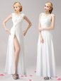 Lovely Scoop White Empire Appliques Homecoming Gowns Zipper Chiffon Sleeveless Floor Length