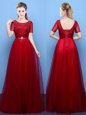Scoop Wine Red Empire Beading Dress for Prom Lace Up Tulle Short Sleeves Floor Length