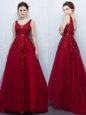 Hot Selling With Train Backless Dress for Prom Wine Red and In for Prom with Appliques and Belt Brush Train