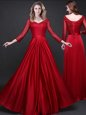 Best Selling Floor Length Empire Long Sleeves Wine Red Prom Party Dress Lace Up