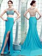 Scoop Aqua Blue Sleeveless With Train Beading Zipper Evening Dress