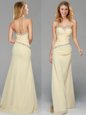 Light Yellow Side Zipper Sweetheart Beading Prom Dress Chiffon Sleeveless Brush Train