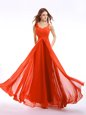 Luxury Straps Sleeveless Zipper Dress for Prom Orange Red Chiffon