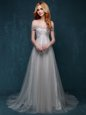 Glittering Lace Grey One Shoulder Zipper Ruching and Bowknot Prom Dress Brush Train Sleeveless