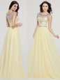 Flirting Scoop Floor Length Light Yellow Chiffon Sleeveless Beading