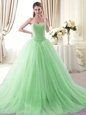 Ideal Tulle Sweetheart Sleeveless Brush Train Lace Up Beading Vestidos de Quinceanera in Apple Green