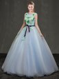 High End Scoop Floor Length Royal Blue Quinceanera Gowns Tulle Cap Sleeves Appliques
