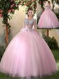 Enchanting Scoop Long Sleeves Tulle Floor Length Lace Up Vestidos de Quinceanera in Baby Pink for with Appliques