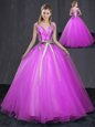 Enchanting Fuchsia Tulle Lace Up V-neck Sleeveless Floor Length Sweet 16 Quinceanera Dress Appliques and Belt