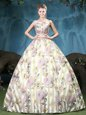 Fantastic Straps Multi-color Lace Up Vestidos de Quinceanera Appliques and Pattern Sleeveless Floor Length