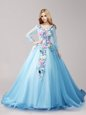 Deluxe Baby Blue Lace Up V-neck Hand Made Flower 15th Birthday Dress Tulle Long Sleeves Brush Train