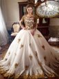 Spectacular Scoop White Tulle Zipper 15 Quinceanera Dress Long Sleeves With Train Chapel Train Appliques