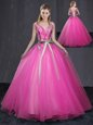 Orange Tulle Lace Up Quinceanera Dress Sleeveless Floor Length Beading and Belt