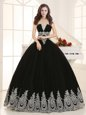 Artistic Sweetheart Sleeveless Quinceanera Dress Floor Length Beading and Appliques Black Tulle