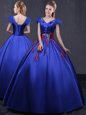 Nice Cap Sleeves Floor Length Appliques Lace Up 15 Quinceanera Dress with Royal Blue