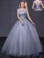 Sweet Scoop Grey Ball Gowns Beading and Belt Quince Ball Gowns Lace Up Tulle Cap Sleeves Floor Length