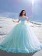 Off the Shoulder Baby Blue Sweet 16 Quinceanera Dress Tulle Court Train Cap Sleeves Hand Made Flower