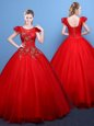 Scoop Red Tulle Lace Up Sweet 16 Dresses Short Sleeves Floor Length Appliques
