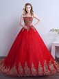 Sequins Court Train Ball Gowns Quinceanera Dresses Red Strapless Tulle Sleeveless Lace Up