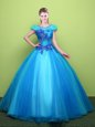 High Class Scoop Baby Blue Lace Up Quinceanera Dresses Appliques Short Sleeves Floor Length