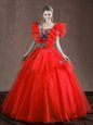 Coral Red V-neck Neckline Appliques and Belt Sweet 16 Quinceanera Dress Sleeveless Lace Up