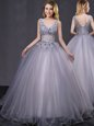 Cute Peach Tulle Lace Up Quince Ball Gowns Sleeveless Floor Length Appliques and Belt