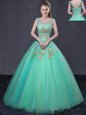 Scoop Floor Length Turquoise Quinceanera Dress Organza Sleeveless Beading and Appliques