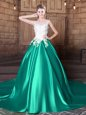 Turquoise Lace Up Scoop Lace and Appliques 15 Quinceanera Dress Elastic Woven Satin Sleeveless Court Train