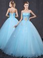 Traditional Light Blue Sleeveless Tulle Lace Up Quinceanera Dress for Military Ball and Sweet 16 and Quinceanera