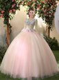 Peach Quinceanera Gowns Military Ball and Sweet 16 and Quinceanera and For with Appliques Scoop Long Sleeves Lace Up