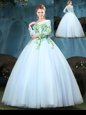 Light Blue Ball Gowns Tulle Scoop Long Sleeves Appliques Floor Length Lace Up 15th Birthday Dress