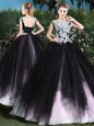 Scoop Sleeveless Lace Up Quinceanera Gown Pink And Black Tulle
