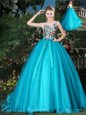 Scoop Lavender Ball Gowns Appliques Vestidos de Quinceanera Lace Up Organza Sleeveless