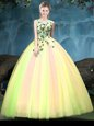 Custom Design Sleeveless Appliques Lace Up Ball Gown Prom Dress