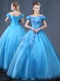 Baby Blue Lace Up Off The Shoulder Appliques Quince Ball Gowns Organza Short Sleeves