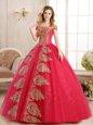 Fitting Red Ball Gowns Off The Shoulder Sleeveless Tulle Floor Length Lace Up Appliques and Sequins Quinceanera Dresses