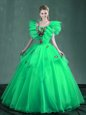 Gorgeous Square Sleeveless Lace Up Quince Ball Gowns Turquoise and Apple Green Organza