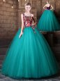 Affordable One Shoulder Sleeveless Lace Up Quinceanera Gowns Olive Green Tulle