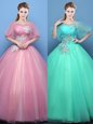 Tulle Scoop Half Sleeves Lace Up Appliques Sweet 16 Quinceanera Dress in Pink and Turquoise
