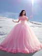 Gorgeous Tulle Off The Shoulder Cap Sleeves Court Train Lace Up Hand Made Flower Sweet 16 Quinceanera Dress in Rose Pink