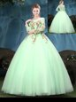 Perfect Floor Length Apple Green Sweet 16 Dress Scoop Long Sleeves Lace Up