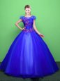 Charming Scoop Blue Tulle Lace Up Quince Ball Gowns Short Sleeves Floor Length Appliques