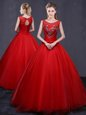 Floor Length Red Sweet 16 Quinceanera Dress Scoop Sleeveless Lace Up