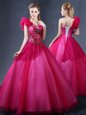 One Shoulder Sleeveless Lace and Appliques and Ruffles Lace Up Vestidos de Quinceanera