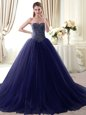 Beading and Belt Sweet 16 Dresses Lavender Lace Up Sleeveless Floor Length
