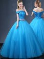 Off the Shoulder Sleeveless Lace Up Floor Length Beading and Appliques Quinceanera Gowns